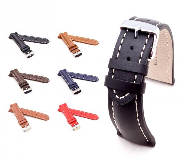 "BOB Calfskin Watch Band, Model ""Chrono"", 18-24 mm, 6 colors, new!"