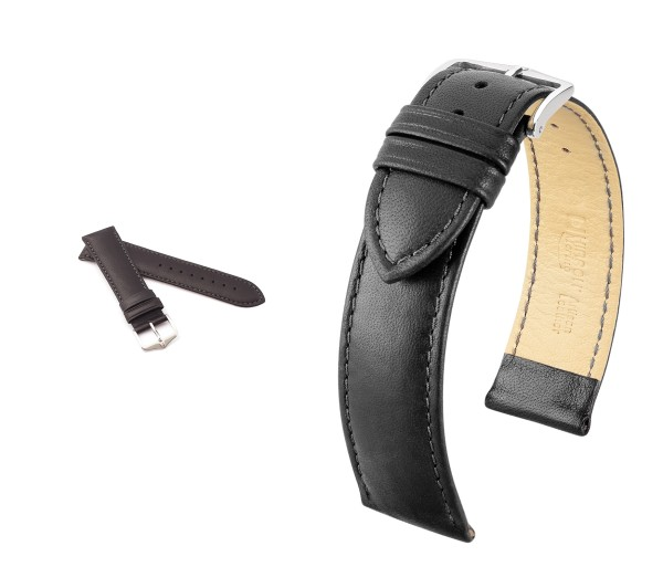 "HIRSCH XS French Sheepskin Watch Band ""Merino"", 14-20 mm, black, new!"