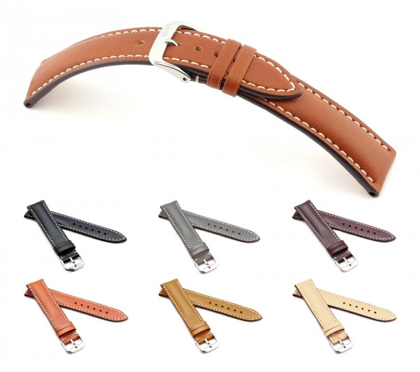 """RIOS1931 Juchten Leather Watch Band """"St. Petersburg"""", 18-22 mm, 6 colors, new!"""