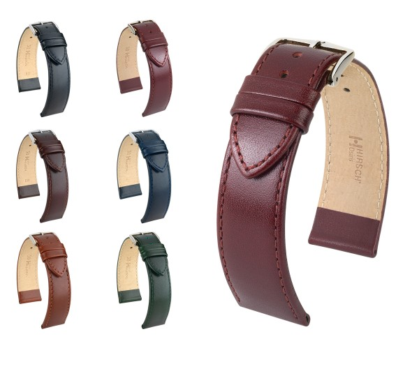 "HIRSCH Box Leather Watch Band ""Osiris"", 16-24 mm, 6 colors, new!"