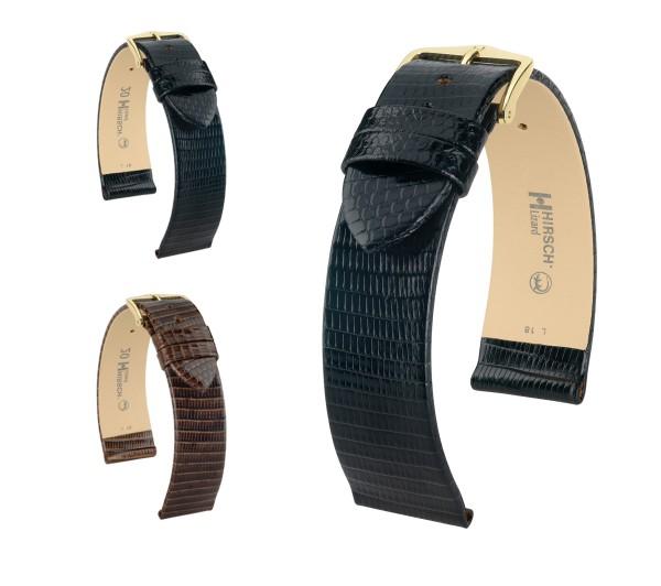 """HIRSCH XL Lizard Leather Watch Band """"Lizard"""", 18-20 mm, 2 colors, new!"""