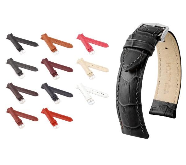 "HIRSCH XS Uhrenarmband Alligator Style ""Duke"", 12-24 mm, 11 Farben, neu!"