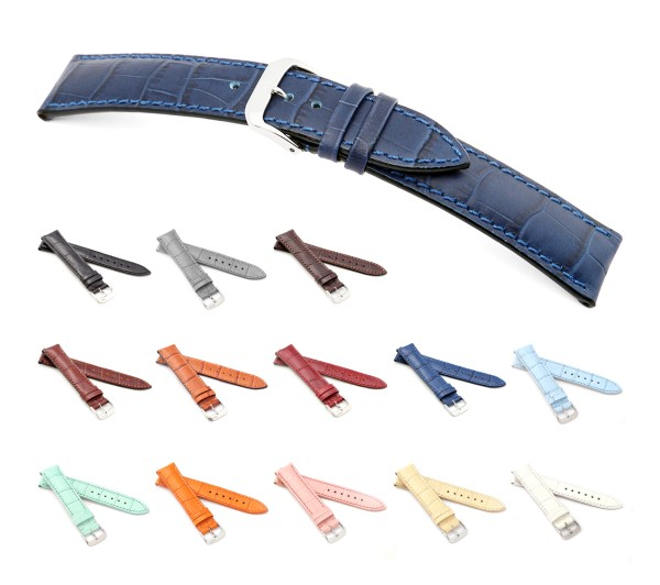 "RIOS1931 XL Uhrenarmband Alligator Style ""Louisiana"", 16-22 mm, 13 Farben, neu!"