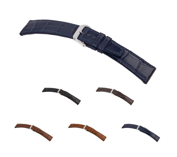 """RIOS1931 Genuine Alligator Watch Band """"Spitfire"""", 18-22 mm, 5 colors, new!"""