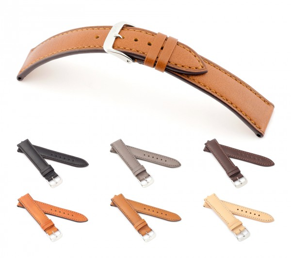 "RIOS1931 Juchten Leather Watch Band ""Samara"", 18-20 mm, 6 colors, new!"