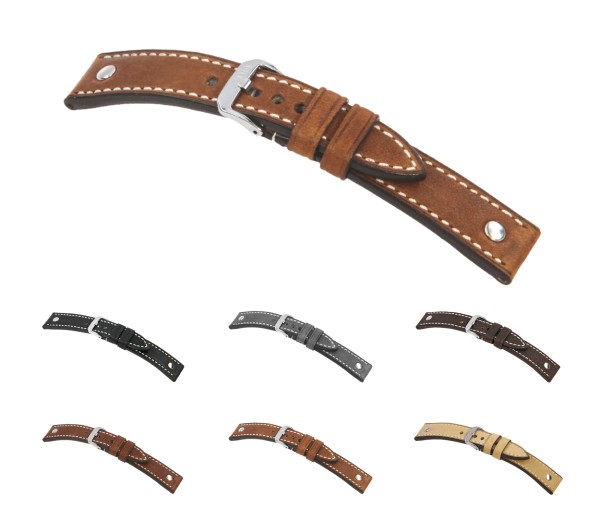 "RIOS1931 Vintage Leather Watch Band ""London"", 18-24 mm, 6 colors, new!"