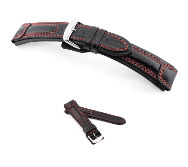 "RIOS1931 Carbon Style Watch Band ""Monza"", 20-24 mm, black, new!"