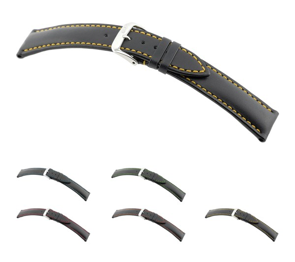 """RIOS1931 Cowhide Watch Band """"Smart"""", 18-22 mm, black, new!"""