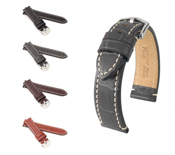 """HIRSCH Alligator Style Watch Band """"Knight"""", 20-24 mm, 4 colors, new!"""