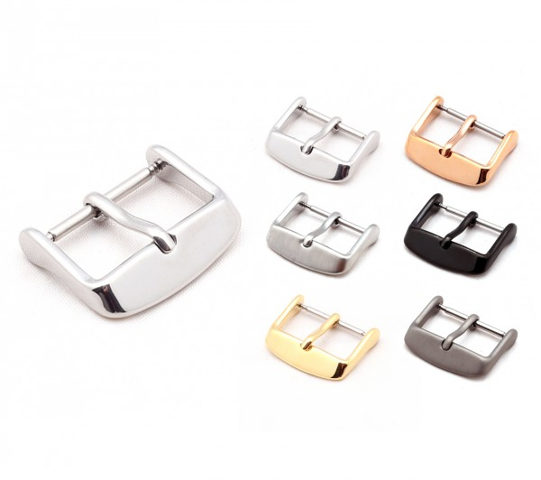 "Tang Buckle for Watch Bands, Model ""Classic"" 16-22 mm, 5 colors, new!"