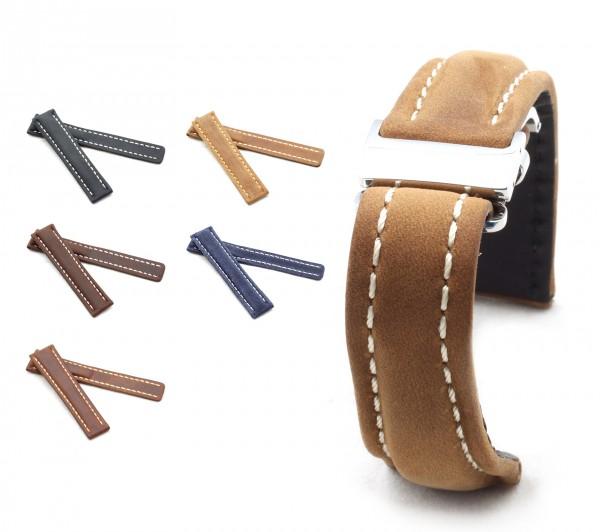 BOB Faltschließband Wildleder kompatibel Breitling, 20-24 mm, 5 Farben, neu!