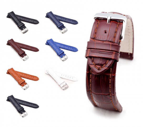 "BOB Alligator Style Watch Band (BN), Model ""Basic"", 18-24 mm, 7 colors, new!"